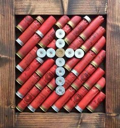 50 Bachelor Pad Wall Art Design Ideas For Men - Cool Visual Decor - Man Style Ammo Crafts, Hunting Crafts, Wood Crafts, Shotgun Shell Art, Shotgun Shell Crafts, Shotgun Shells, Bullet Casing Crafts, Bullet Crafts, All You Need Is