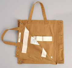 A tote bag with side buttons like jeans