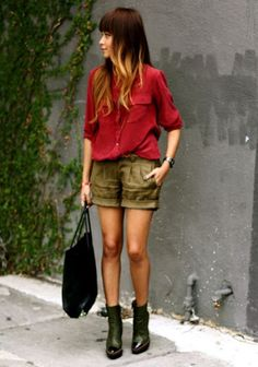 blouse with short pants...
