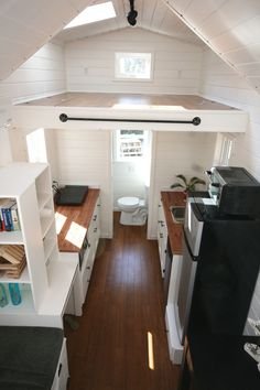 A 160 square feet tiny house on wheels in Kitty Hawk, North Carolina. Designed and built by East Coast Tiny Homes.