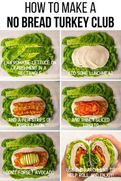 No Bread Turkey Club - Mad About Food - Use this No Bread Turkey Club method to make your favorite sandwich into a low carb sandwich. Make a no bread sandwich by rolling all of your favorite fillings into a romaine lettuce wrap. Healthy Dinner Recipes For Weight Loss, Healthy Meal Prep, Healthy Snacks, Protein Snacks, Keto Meal, Healthy Weight, Healthy Meala, Healthy Lunch Ideas, Healthy Lunch Wraps