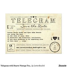 Telegram Vintage Travel Winged Heart Save The Date Paper Invitation Card