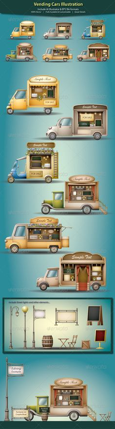 Vending Cars Illustration - Commercial / Shopping Conceptual                                                                                                                                                                                 Mais