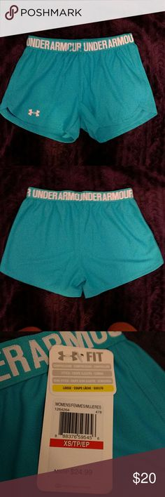 NWT Under Armour Running Shorts NWT Teal Under Armour running shorts. Waist band with logo. Never worn! Thanks! Xoxo? Under Armour Shorts