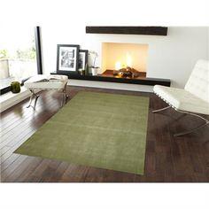 Elite No.1002 Modern Wool Rug in Green - 110x160cm