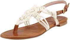 Stuart Weitzman Corded Thong Flat Sandal, Saddle / Wantering