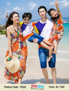 Family Clothing Sets India - Family Matching Outfits on Vacation, Matching Family Costumes, Father and Son Matching T-shirt with Denim Shorts, Mother and Daughter Sun Dresses for Photo Shoot, Summer Holiday, Beach Outing