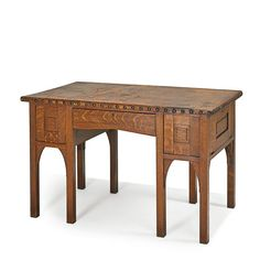 GUSTAV STICKLEY Rare and early library table with original leather top, Eastwood, NY, ca. 1900-01
