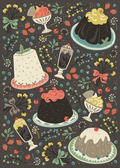 Sweet Deserts  Art Print  http://society6.com/annadeegan/Sweet-Deserts_Print#