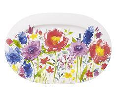 Piatto da presentazione in bone china Anmut Flowers, L 34 cm