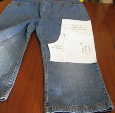 tutorial how to make children's jeans from adult jeans