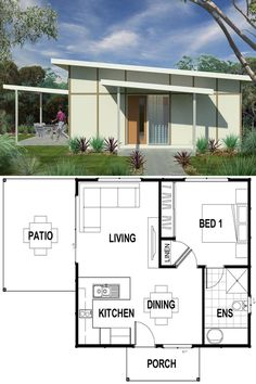 Featuring 1 Bedroom and 1 Bathroom - Set across a spacious View floor plan and design features - Save up to on build costs with Imagine. One Floor House Plans, Small House Plans, Nice Houses, Little Houses, Smart House, Tiny House, 2 Bedroom House Design, Smart Home Design, Tiny Cabins