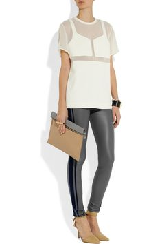 Les Chiffoniers|Velvet-trimmed stretch-leather leggings