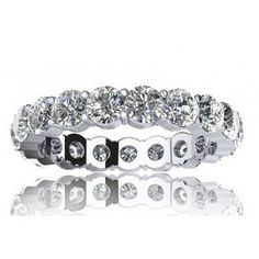 2.00 ct Sharing Prong Set Round Cut Diamond Eternity Wedding Band Ring in 14 kt White Gold