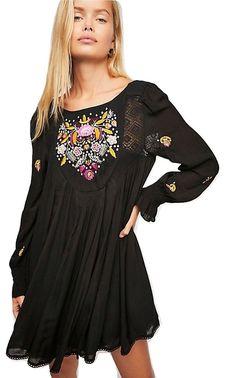 76b41c063a3f Free People Moya Embroidered Mini Dress Black