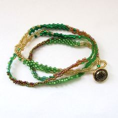 Beaded Wrap Bracelet  Green Bead Bracelet  by playnwithbeads