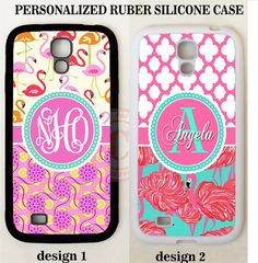 PINK CORAL TEAL FLAMINGO TRELLIS MONOGRAM Case For Samsung Galaxy S7 S6 NOTE 7 5 #UnbrandedGeneric