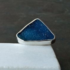 Blue Druzy Big Ring Sterling Silver Large Druzy by SunSanJewelry