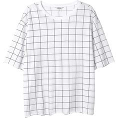 Monki Linea top (€15) ❤ liked on Polyvore featuring tops, t-shirts, shirts, tees, print perfection, print shirts, shirts & tops, checkered pattern shirt, checkered shirt and print top