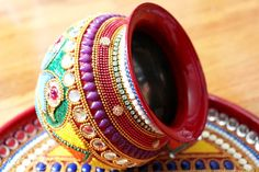 Peacock and mehendi motif plate that comes with a kalash, diya and cup for pooja items. by nirman on etsy.#ad