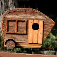 "Birdhouse ""camper"" made of old barn board!"