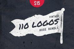 110 Vintage Logos Bundle • 50% off by vuuuds on @creativemarket