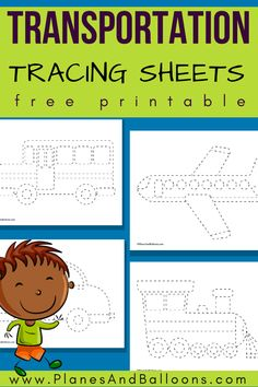 Transportation tracing worksheets for toddlers and preschoolers