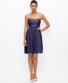 Silk Georgette Strapless Dress | Ann Taylor