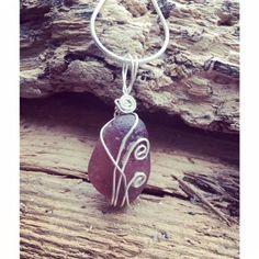 "Unique Sea Glass Necklace RARE Pink Rose Stone Sterling Silver 18"" Chain NEW #Handmade #NecklacePendant"