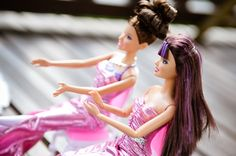 Barbie's bridesmaids are so happy for her! P.S. we love the purple highlights!