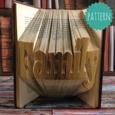 Folded Book Art Family Word Pattern & tutorial, gift, decoration
