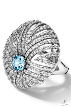 Cassandra Goad's Assento Aquamarine and Diamond Ring in white gold. Shop luxury jewellery online or visit in store at our Sloane Street showroom. Jewelry Rings, Jewelry Accessories, Jewelry Design, Blue Rings, White Gold Rings, Cocktail, Jewelry Showcases, Contemporary Jewellery, Luxury Jewelry