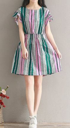 Women loose fit over plus size stripes skater dress tunic fashion casual chic Lace Summer Dresses, Trendy Dresses, Cheap Dresses, Women's Fashion Dresses, Casual Dresses, Short Dresses, Dress Summer, Vestidos Gg, Vestidos Vintage