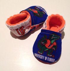 University of Florida Gators Cloth Baby Booties Shoes by saluna
