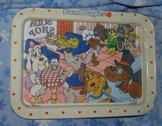 Vintage Pound Puppies 1987 Soda Shop Metal Tin TV Tray