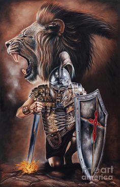 Warrior Painting - Valiant Men by Ilse Kleyn Jesus Tattoo, God Tattoos, Warrior Tattoos, Angel Warrior Tattoo, Spiritual Warrior, Spiritual Warfare, Lion Pictures, Jesus Pictures, Christian Warrior