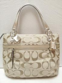 FREE SHIP - NWT! COACH Signature Large Metallic Poppy Sateen Glam Shopper Tote Bag 18979