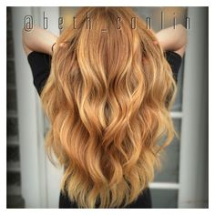 Strawberry blonde balayage- Beth Conlin Hair @beth_conlin ❤ liked on Polyvore featuring beauty products and haircare
