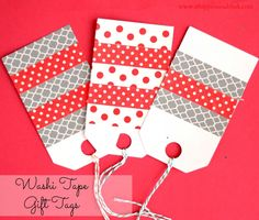 Washi Tape Gift Tags from It Happens in a Blink. This is an easy beginner washi tape crafting project Noel Christmas, Diy Christmas Gifts, Handmade Christmas, Tapas, Washi Tape Cards, Handmade Gift Tags, Holiday Gift Tags, Card Tags, Gift Cards