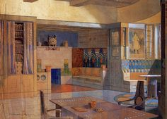 Eliel Saarinen, Interior Illustration, 1903