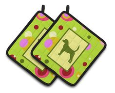Lime Green Dots English Foxhound Pair of Pot Holders CK1027PTHD
