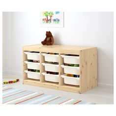 """TROFAST Storage combination with boxes, pine light white stained pine, white, 37x17 3/8x20 1/2"""". Find it here! - IKEA Lego Storage, Ikea Storage, Cube Storage, Wall Storage, Storage Boxes, Kids Craft Storage, Toy Storage Shelves, Ikea Trofast, Shopping"""