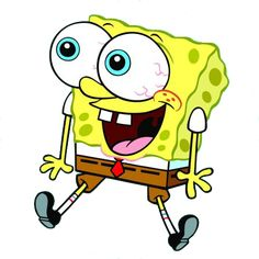 SpongeBob Squarepants is a cute sea sponge, but he is drawn to resemble a kitchen sponge, being rectangular and bright yellow with a dark brown outline. In earlier episodes, he is wider near the top and gets skinnier going further down. However, in episodes that are more recent, he is more of a regular square shape. SpongeBob has large blue eyes, a long, slightly curved nose, a large mouth with two prominent front buck teeth, and dimples with three freckles on each cheek.
