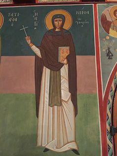 Chevetogne - fresque de sainte Nino égale-aux-Apôtres, qui évangélisa la Géorgie. http://www.schola-sainte-cecile.com/2015/12/05/pelerinage-a-labbaye-de-chevetogne-belgique/