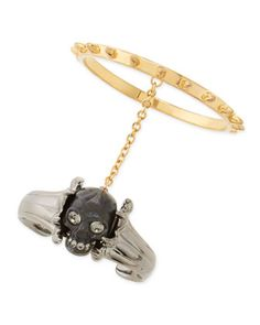 Skull Claw Double Bracelet, Black/Gold by Alexander McQueen at Neiman Marcus.