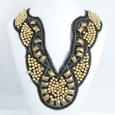 Vintage Inspired Ribbon Collar Necklace, Antiqued Gold Beaded Statement Bib Necklace, Square Chunky Necklace-121476566