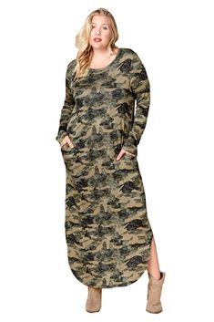 3b03016b1f Women s Plus Size Camouflage Long French Terry Knit Nightgown Dress