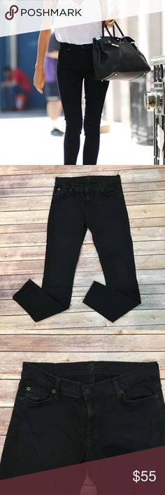 """7 For All Mankind Black Skinny Jeans 7 For All Mankind Black Skinny Jeans. Size 28. Waist laying flat 15""""/ front rise 8""""/ back rise 10""""/ inseam 29"""". (B002) 7 For All Mankind Jeans Skinny"""