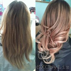 Rose gold hair color champagne rosè