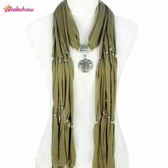 AOLOSHOW Fashion Pendant Necklace Jewelry Scarfs for Women Elegant Round Metal Pendant Necklace Long Beads Tassel Shawl NL-1617